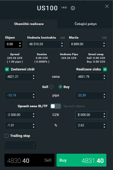 Příklad obchodování indexů v platformě xStation 5