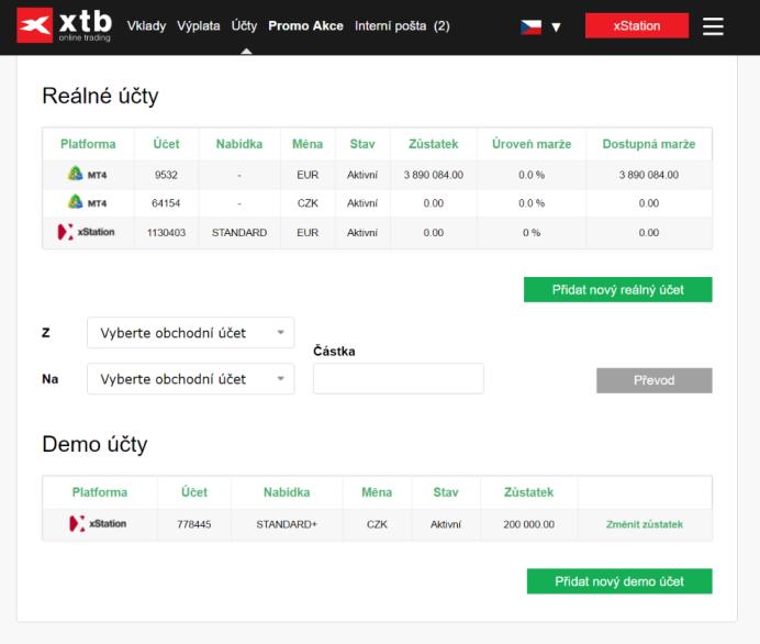 XTB Profil investora - přehled účtů
