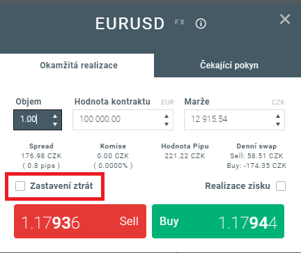 Nastavení pokynů Stop Loss a Take Profit v xStation 5