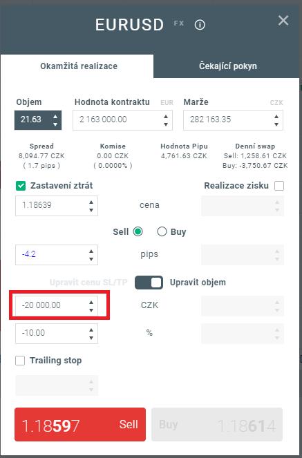 Stop Loss dle zadané ceny a automatická úprava objemu v xStation 5