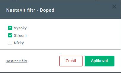 Nastavit filtr - dopad (xStation 5)