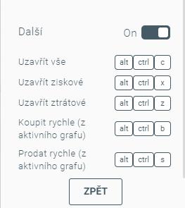 Další klávesové zkratky v xStation 5